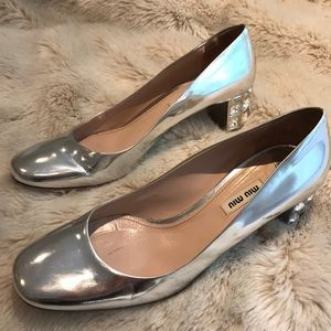 Miu Miu Silver Jeweled Heel Pump